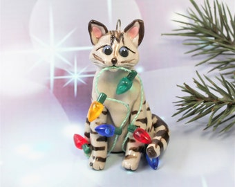 Siamese Brown Lynx Point Cat Porcelain Christmas Ornament Figurine