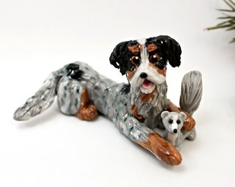 Dachshund Longhair Blue Merle Porcelain Christmas Ornament Figurine Toy Squirrel