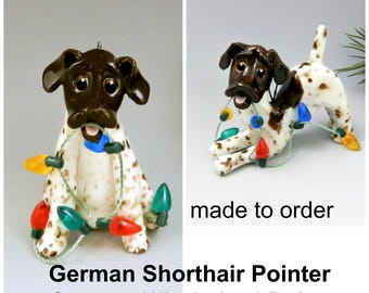 German Shorthaired Pointer Wirehaired Pointer PORCELAIN Christmas Ornament Figurine Made to Order