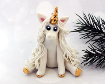 Unicorn PORCELAIN Christmas Ornament or Figurine OOAK