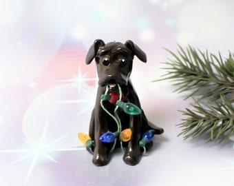 Labrador Retriever Chocolate PORCELAIN Christmas Ornament with Lights OOAK