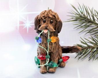 Labradoodle GoldenDoodle Brown Porcelain Christmas Ornament Figurine Lights