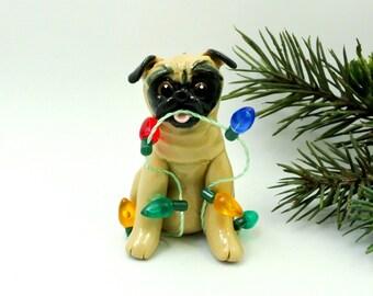 Pug Fawn PORCELAIN Christmas Ornament Figurine Lights