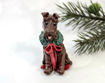 Irish Terrier Porcelain Christmas Ornament Figurine Wreath OOAK