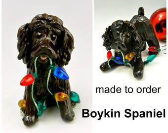Boykin Spaniel Dog Made to Order Christmas Ornament Figurine in Porcelain