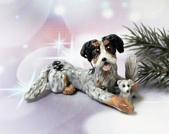 Dachshund Longhair Blue Merle Porcelain Christmas Ornament Figurine Toy Squirrel