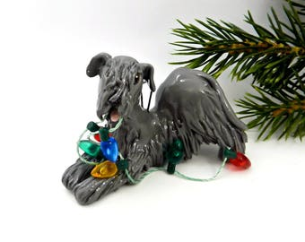 Cesky Terrier Porcelain Christmas Ornament Figurine Lights