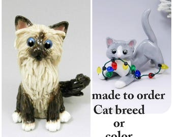 Cat Breed or Color Porcelain Christmas Ornament Figurine Made to Order