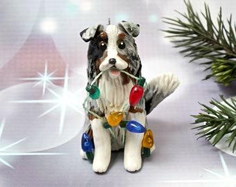 Shetland Sheepdog Collie Blue Merle Christmas Ornament Figurine Porcelain Lights