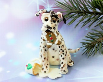 Dalmatian Liver PORCELAIN Christmas Ornament Figurine Santa's Milk Cookie