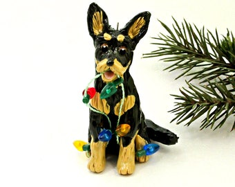 German Shepherd Black and Tan Porcelain Christmas Ornament Figurine with Lights