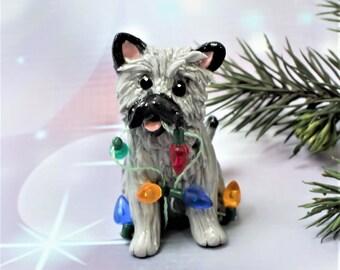 Cairn Terrier Gray Porcelain Christmas Ornament Figurine Lights