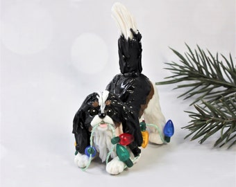 Cavalier King Charles Spaniel TriColor Dog PORCELAIN Christmas Ornament Figurine Clay