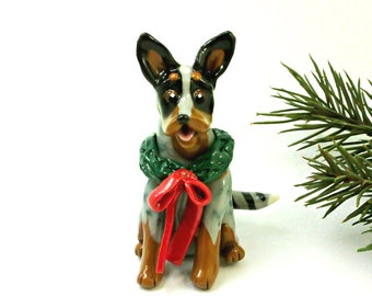 Australian Cattle Dog Porcelain Christmas Ornament Figurine with Wreath and bow