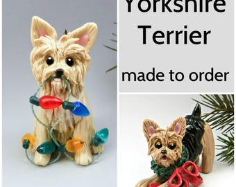 Yorkshire Terrier Yorkie PORCELAIN Christmas Ornament Figurine Made to Order