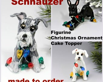 Schnauzer PORCELAIN Christmas Ornament Figurine Made to Order