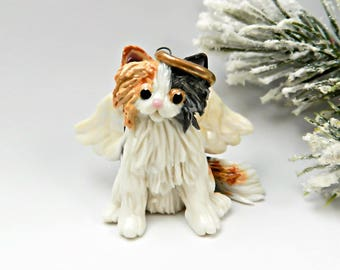 Angel Tabby Calico Cat Persian Maine Coon Ornament Porcelain