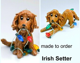 Irish Setter PORCELAIN Christmas Ornament Figurine Made to Order