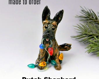 Dutch Shepherd PORCELAIN Christmas Ornament Figurine Made to Order