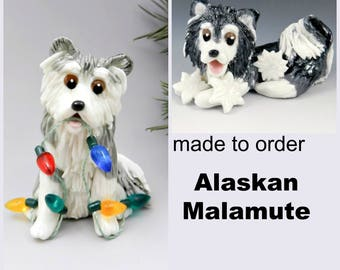 Alaskan Malamute Dog PORCELAIN Christmas Ornament Figurine Made to Order