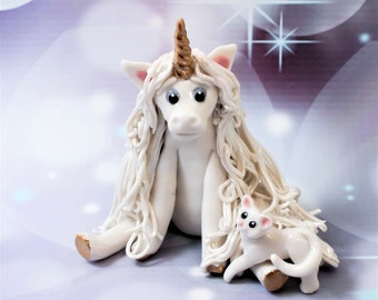 Unicorn with Cat PORCELAIN Figurine OOAK