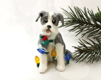 Great Dane Blue White Christmas Ornament Figurine Lights Porcelain