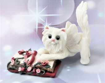 Cat Fairy Figurine White with Roses Porcelain Sculpture