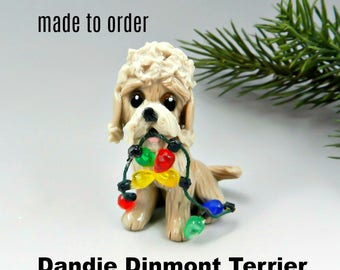Dandie Dinmont Terrier PORCELAIN Christmas Ornament Figurine Made to Order