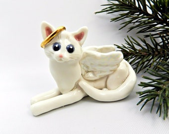 Angel Cat White PORCELAIN Christmas Ornament Figurine Memorial