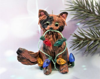Tortoiseshell Cat Maine Coon Cat PORCELAIN Christmas Ornament Figurine Lights