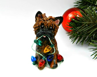 Cairn Terrier Brindle Porcelain Christmas Ornament Figurine Lights OOAK