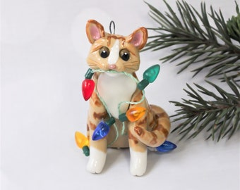Orange Tabby and White Cat Porcelain Christmas Ornament Figurine Lights Clay