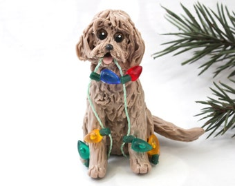 Golden Doodle Labra Doodle PORCELAIN Christmas Ornament Figurine Lights Ooak