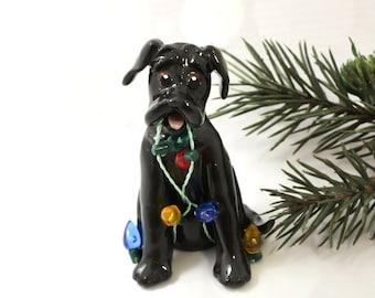 Great Dane Black Dog PORCELAIN Christmas Ornament Figurine Lights