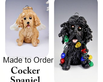 Cocker Spaniel Dog PORCELAIN Christmas Ornament Figurine Made to Order