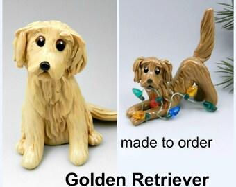 Golden Retriever Dog PORCELAIN Christmas Ornament Figurine Made to Order