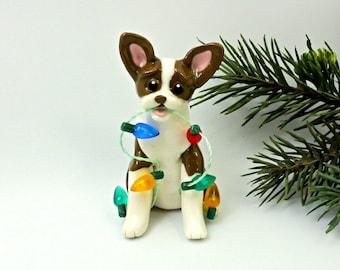 Boston Terrier Brown PORCELAIN Christmas Ornament Figurine Lights