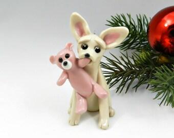 Chihuahua Christmas Porcelain Ornament Figurine Teddy Bear OOAK