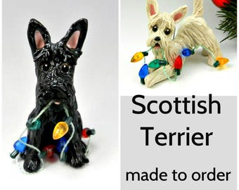 Scottish Terrier Porcelain Christmas Ornament Figurine Made to Order