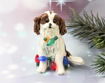 Cavalier King Charles Spaniel Blenheim Porcelain Christmas Ornament Figurine with Lights