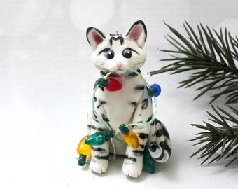 Bengal Cat Silver Snow PORCELAIN Christmas Ornament Figurine Clay