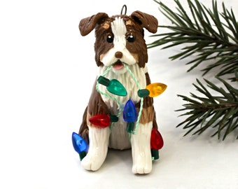 Australian Shepherd Dog Red Tricolor Porcelain Christmas Ornament Figurine