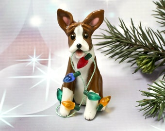Basenji PORCELAIN Christmas Ornament Figurine with Lights