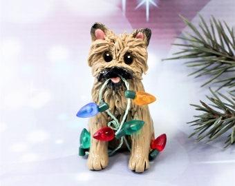 Cairn Terrier Wheaten Porcelain Christmas Ornament Figurine Lights