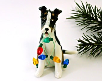 Smooth Collie Tricolor Porcelain Christmas Ornament Figurine with Lights