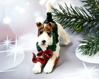 Wire Fox Terrier PORCELAIN Christmas Ornament Figurine with Wreath