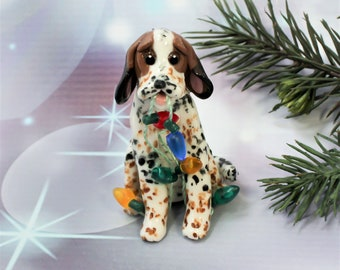Treeing Walker Coonhound PORCELAIN Christmas Ornament Figurine Lights OOAK