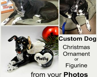Custom from Photos Dog Pet Christmas Ornament Figurine Porcelain Clay