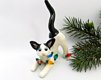 Oriental Shorthair White Black Cat Porcelain Christmas Ornament Lights