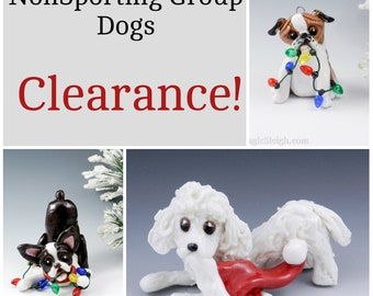 NonSporting Group Dogs Christmas Ornaments Figurine Porcelain Clearance